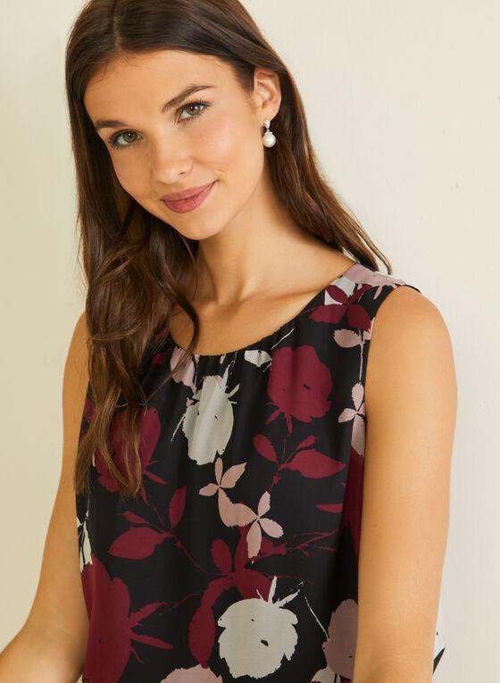 Floral Print Sleeveless Blouse, Black