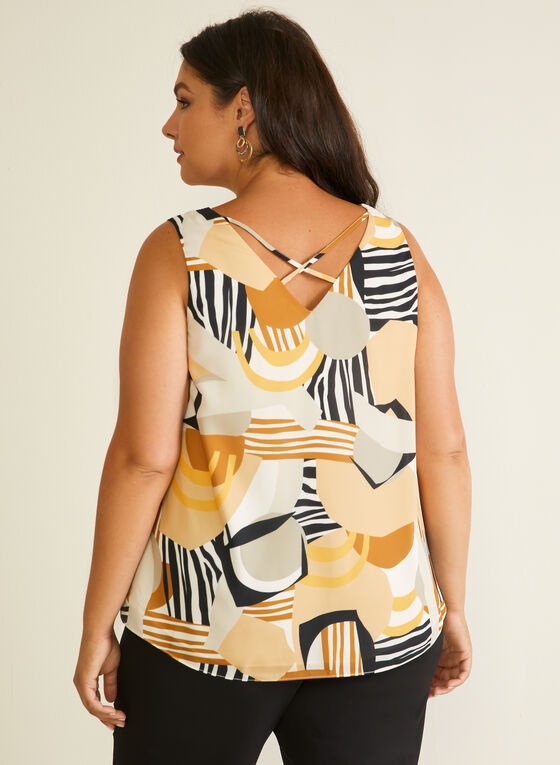 Abstract Print Sleeveless Blouse, White