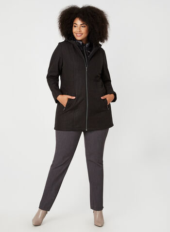 Hooded Anorak & Quilted Vest Set, Black,  coat, anorak, vest, 3 in 1, zipper, transition coats, pockets, hood, fall 2019
