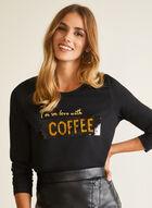 T-shirt imprimé à sequins réversibles, Noir