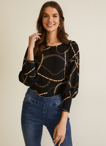 Chain Print Puffed Sleeve Top, Black,  fall winter 2020, top, blouse, 3/4 sleeves, puffed sleeves, chain print, made in canada