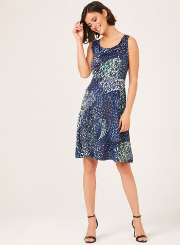 Fit & Flare Sleeveless Jersey Dress, Green, hi-res