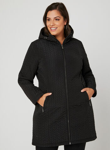 BCBGeneration – Hooded Transition Coat, Black, hi-res