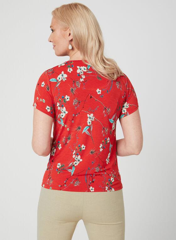 Floral Print Top, Red, hi-res