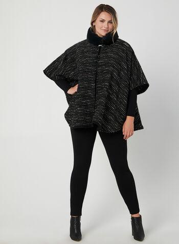 Faux Fur Ruana , Black, hi-res,  faux fur, mock neck, shawl, fall 2019, winter 2019
