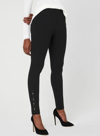 Pearl Detail Leggings, Black, hi-res,