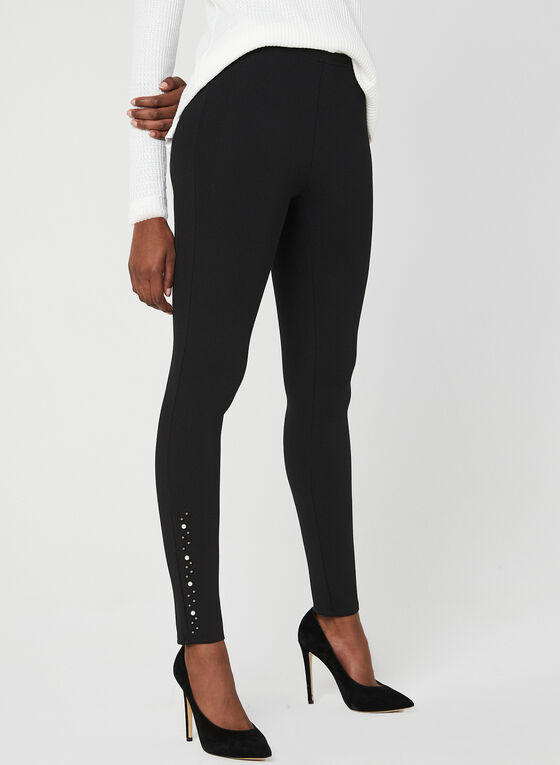Pearl Detail Leggings, Black, hi-res
