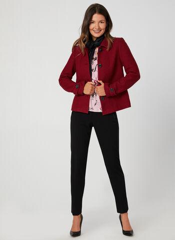 Veste en laine mélangée, Rouge, hi-res,  veste, manteau, laine, col chemisier, fermeture boutonnée, épaulettes, poches, automne hiver 2019