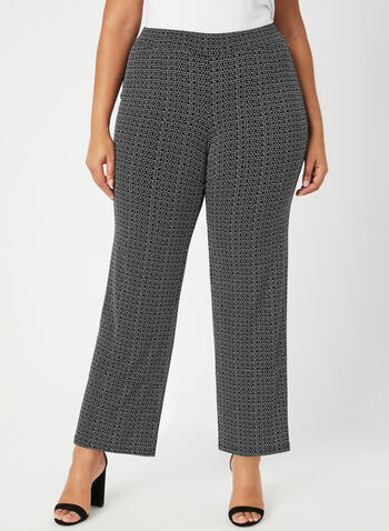 Pantalon coupe moderne à motif abstrait, Noir, hi-res,  pantalon, pull-on, moderne, abstrait, jambe large, automne hiver 2019