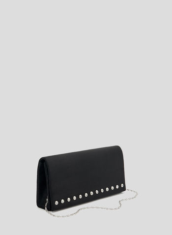 Suede Flapover Clutch, Black, hi-res