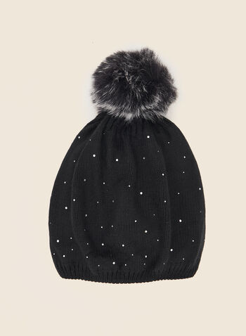 Removable Pom Pom Rhinestone Hat, Black,  fall winter 2020, faux fur, hat, knit, pompom, removable, crystals, accessories