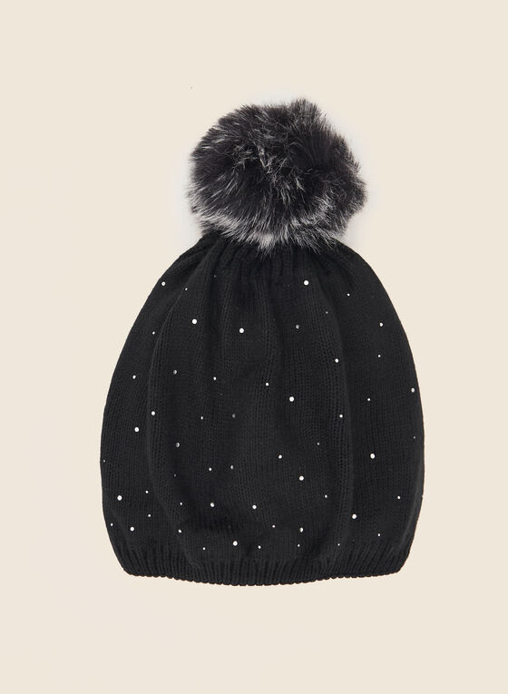 Removable Pom Pom Rhinestone Hat, Black