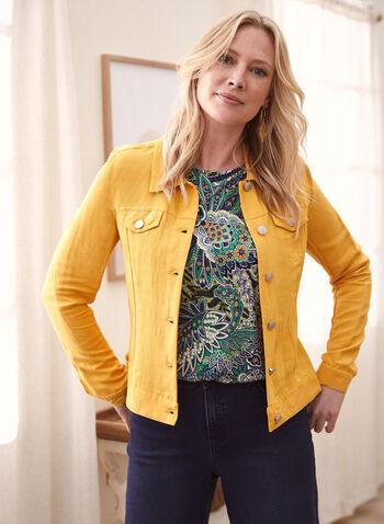 Linen Denim Unlined Jacket, Yellow,  spring summer 2021, jacket, linen, denim, unlined, thin, lightweight, silhouette, layer, jean jacket