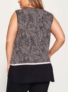 Haut sans manches en jersey à motif de feuilles, Noir, hi-res