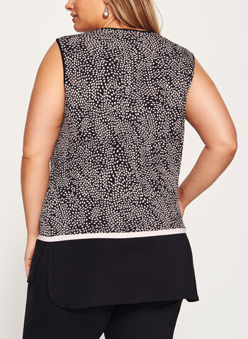 Leaf Print Sleeveless Jersey Top, , hi-res