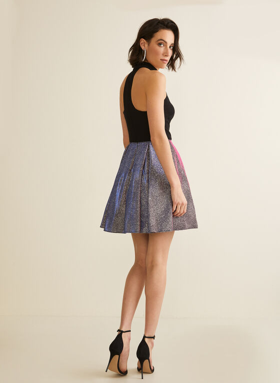 Metallic Glitter Skirt Dress, Black