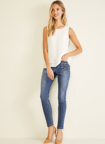 Pearl Detail Slim Leg Jeans, Blue,  jeans, denim, slim, pockets, pearls, fall winter 2020