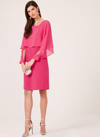 Picadilly - Robe avec cape en mousseline, Rose, hi-res