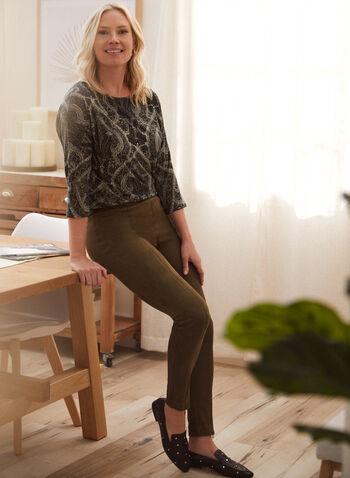 Legging en faux suède à zips, Vert,  automne hiver 2020, legging, pull-on, à enfiler, taille élastique, suède, zips, glissières
