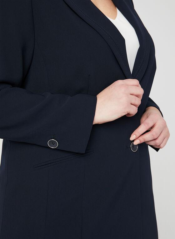 Blazer col tailleur à 2 boutons, Bleu, hi-res