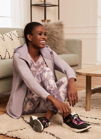 Zip Front Hooded Top, Purple,  top, hooded, long sleeves, nylon, zip front, spring summer 2021