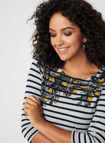 Stripe & Floral Print Tee, Blue, hi-res