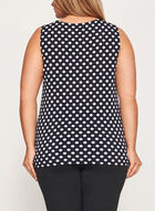 Dot Print Sleeveless Top, Black, hi-res