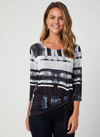 Haut à imprimé abstrait, Noir, hi-res,  cristaux, cordon de serrage, manches ¾, t-shirt, t shirt, automne hiver 2019