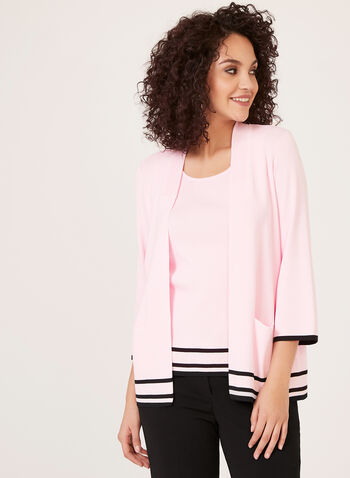 Ribbed Collar Stripe Knit Cardigan , Multi, hi-res