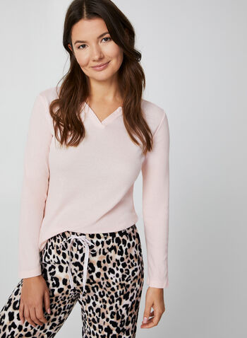 Pillow Talk - Two-Piece Pyjama Set, Pink,  pyjama, leopard print, top, socks, cotton, plush, gift, fall 2019, winter 2019