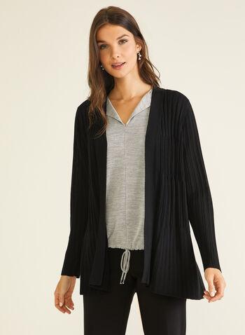 Cardigan ouvert en tricot côtelé, Noir,  cardigan, ouvert, tricot côtelé, manches longues, automne hiver 2020