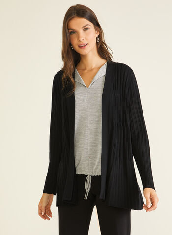 Open Front Rib Knit Cardigan, Black,  cardigan, open front, rib knit, long sleeves, fall winter 2020