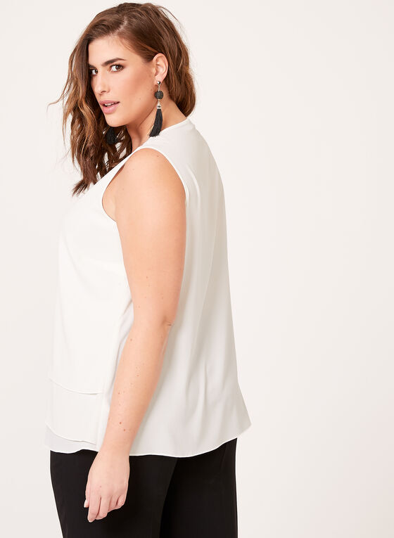 Tiered Crepe Sleeveless Blouse , Off White, hi-res