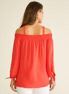 Bardot Neckline Crepe Blouse, Red