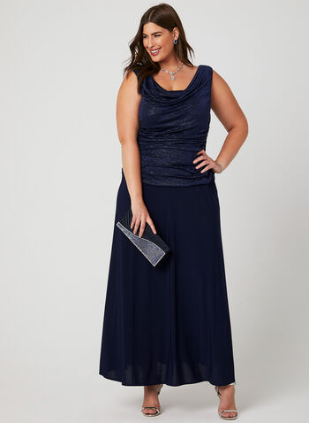 Cowl Neck Glitter Jersey Dress, Blue, hi-res