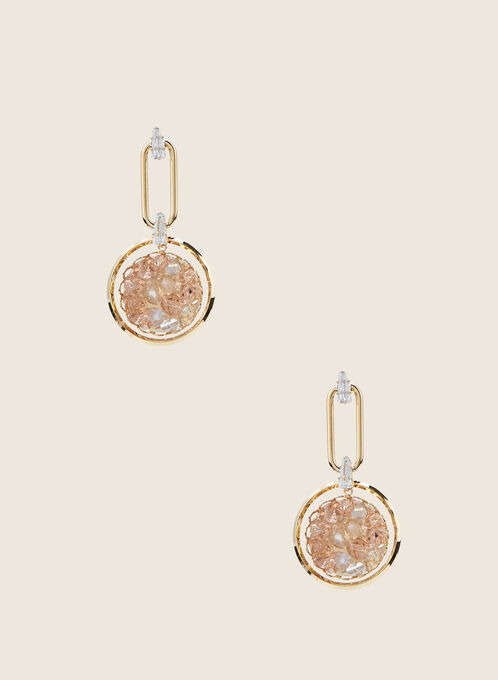 Stone Cluster Dangle Earrings, Gold