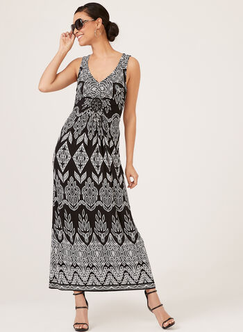 Aztec Puff Print Maxi Dress, Black, hi-res