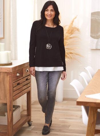 Contrast Fooler Sweater, Black,  fall winter 2021, sweater, fooler sweater, layered, layers, contrast, scoop neck, long sleeve, side slits, button detail