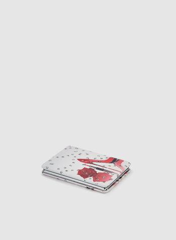 Miroir de poche imprimé soulier et rose, Rouge,  miroir, soulier, cristaux, roses, automne hiver 2019