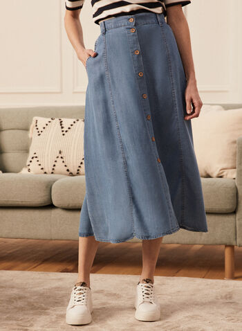 Button Front Tencel Midi Skirt, Blue,  skirt, midi, tencel, pockets, buttons, spring summer 2020
