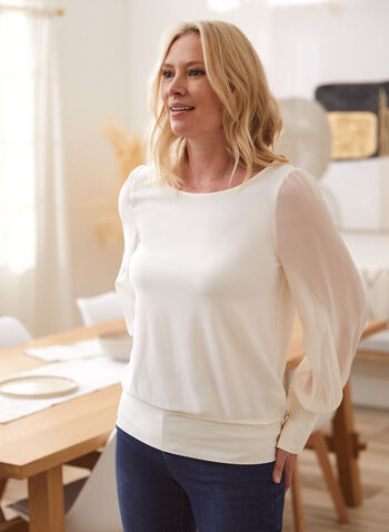 Chiffon Sleeve Top, White,  top, blouse, long sleeves, chiffon, boat neck, buttons, fall winter 2021