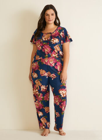 Floral Print Pyjama Set, Multi,  pyjamas, set, 2-piece, floral print, pull-on, short sleeves, fall winter 2020