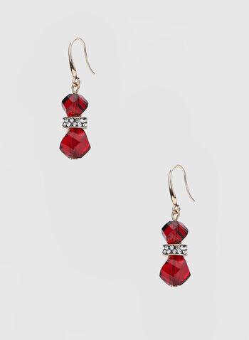 Boucles d'oreilles à pendants billes, Rouge,  billes facettées, fermoirs crochets, cristaux, automne hiver 2019