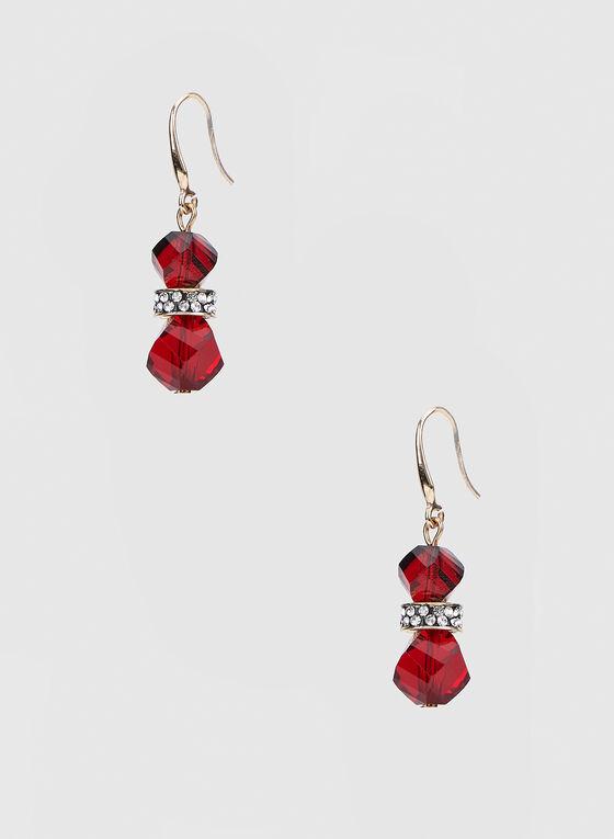 Boucles d'oreilles à pendants billes, Rouge