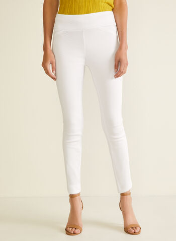 Meg & Margot - Slim Leg Pull-On Pants, White,  pants, pull-on, slim leg, embossed, ankle, bengaline, spring summer 2020