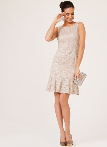 Sequin Lace Flounce Dress, Pink, hi-res
