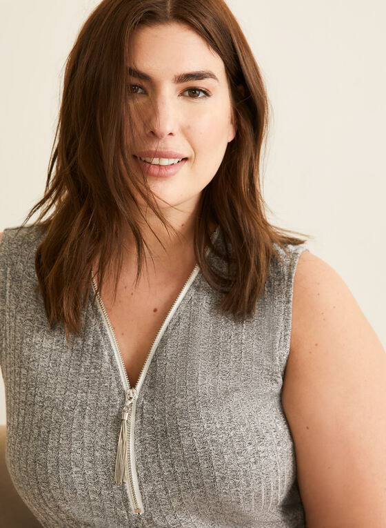 Zipper Detail V-Neck Top, Grey