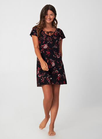 Hamilton - Tie Front Nightgown, Red,  Hamilton, Canada, nightgown, sleepwear, floral, short sleeves, flutter sleeves, fall 2019, winter 2019