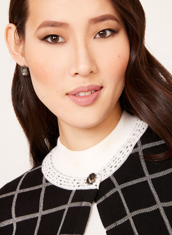Alison Sheri - Cardigan carreauté en tricot contrastant, Noir, hi-res