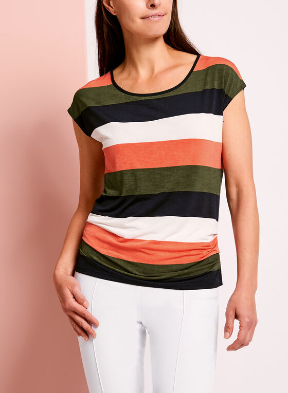 Stripe Print Round Neck Keyhole Top, Green, hi-res